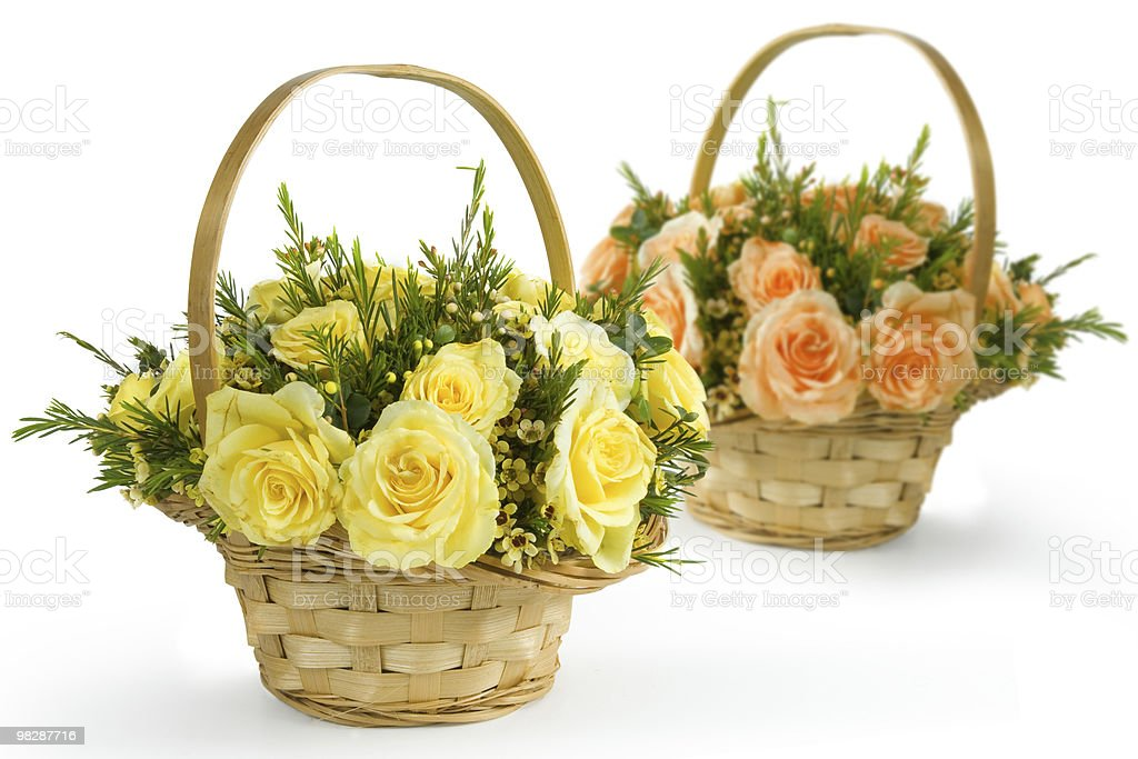 Roses in basket royalty-free stock photo