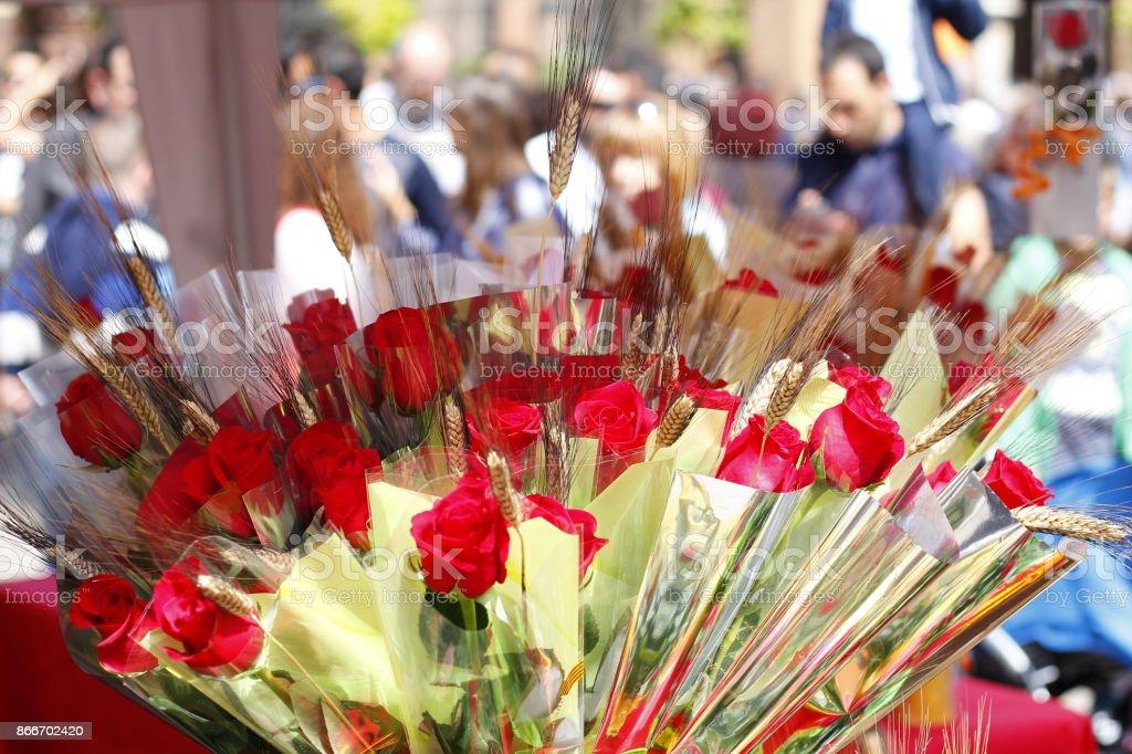 Roses in Sant Jordi day stock photo