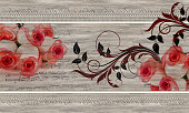 istock roses, lace on wood texture 1183798720