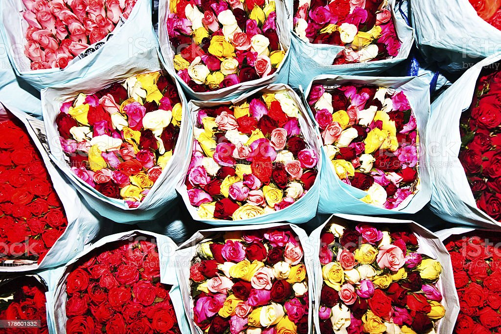 roses offered at the flower market early morning stock photo