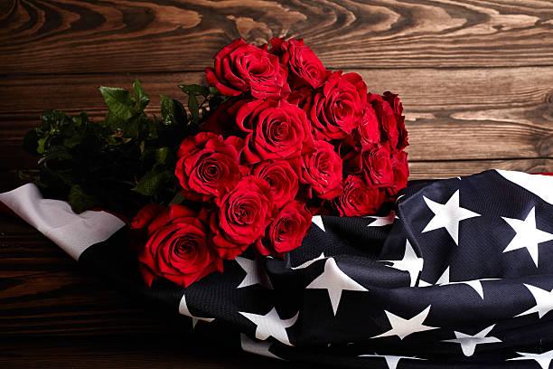roses on american flag. memory - flower bouquet blue and white bildbanksfoton och bilder
