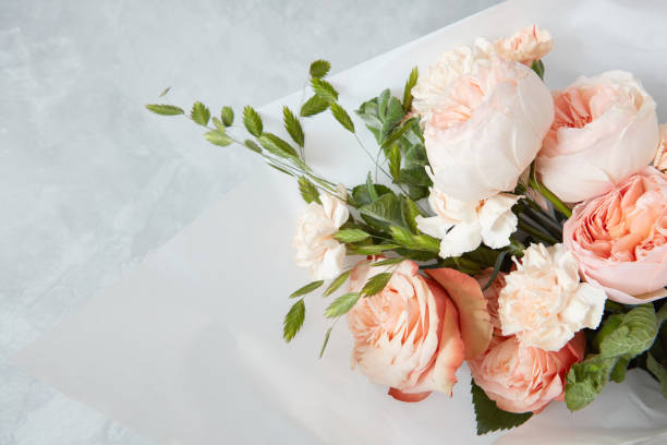 roses on white background - bouquet stock photos and pictures