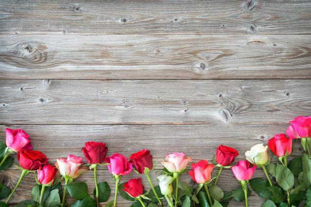 Rosen auf Holzbrett. – Foto