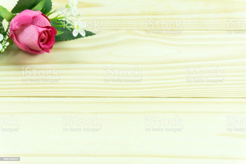 Roses On Wooden Board Valentines Day Background Wedding Day