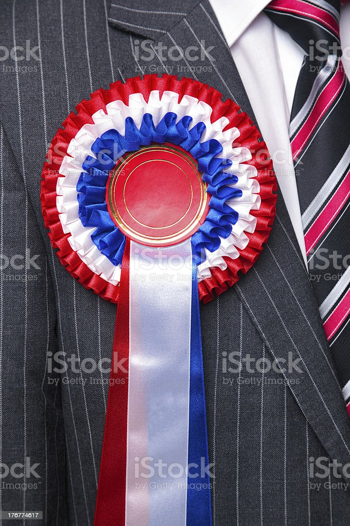 Rosette on suit close up. royalty-free stock photo
