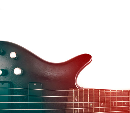 Rosewood Bass Guitar Deck And Neck With Frets And Strings With Gradient Effect — стоковые фотографии и другие картинки Бас-гитара