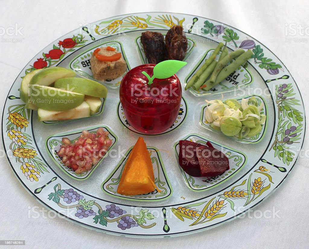 Rosh Hashana Seder Plate stock photo
