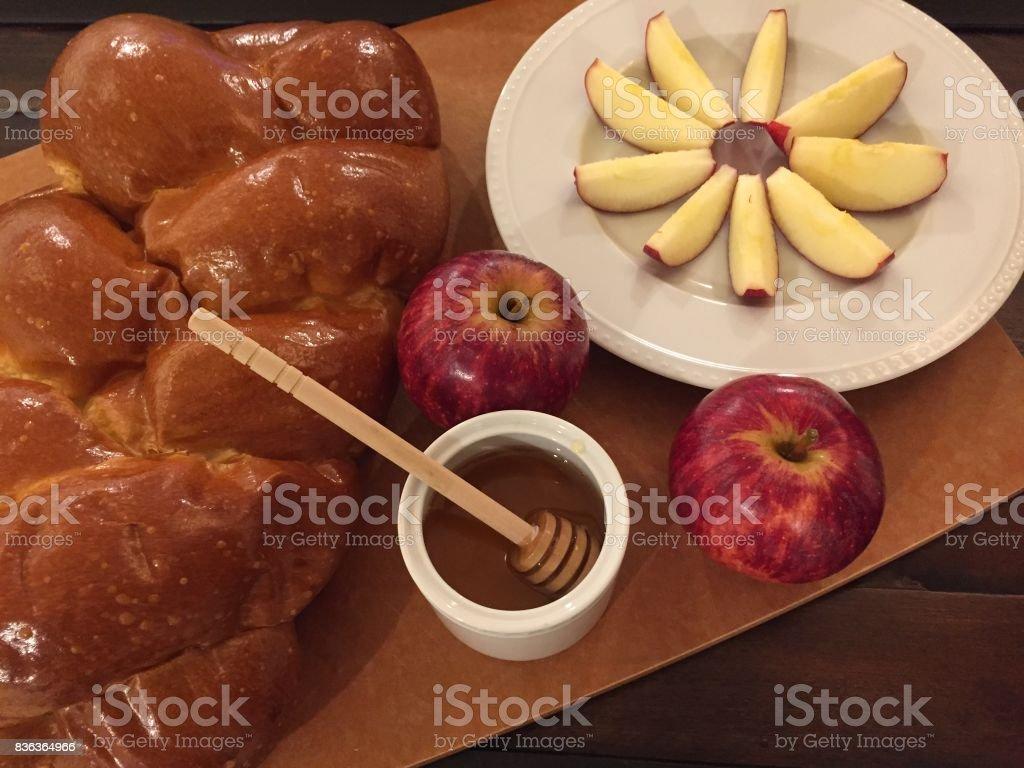 Rosh Hashanah Challah Apples and Honey stock photo
