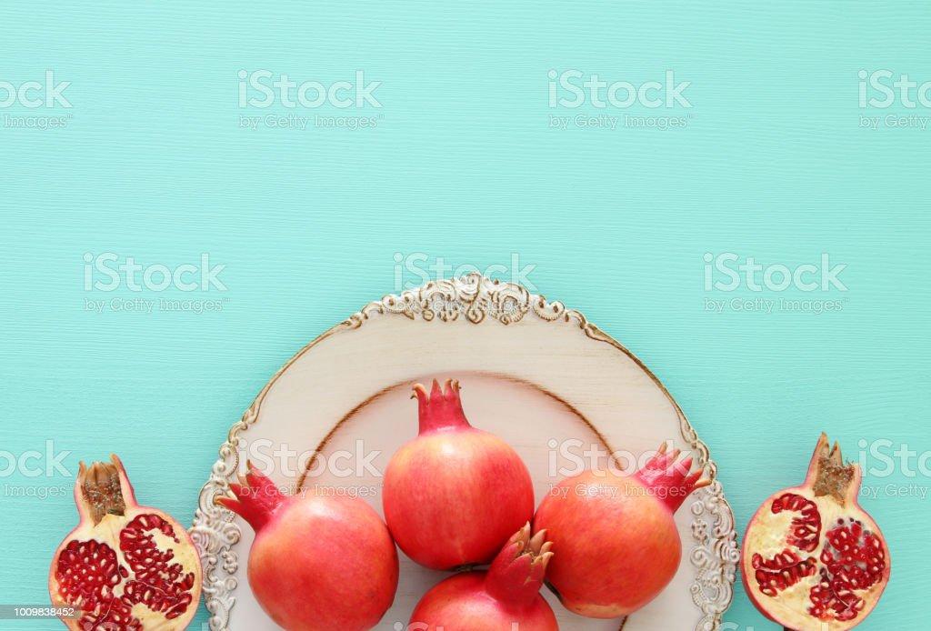 Rosh Hashanah Concept Pomegranate Raditional Symbol Stock Photo