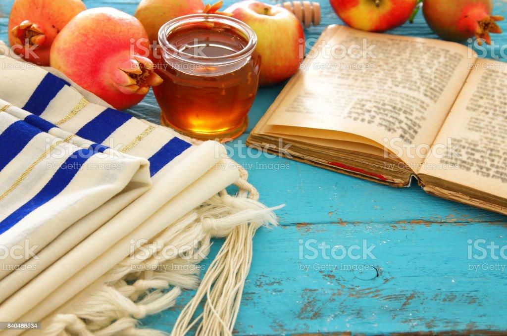 Rosh hashanah (jewish New Year holiday) concept. Traditional symbols. stock photo