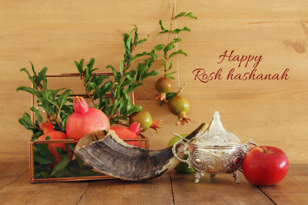 rosh hashanah (jewish new year holiday) concept. traditional symbols - rosh hashana стоковые фото и изображения
