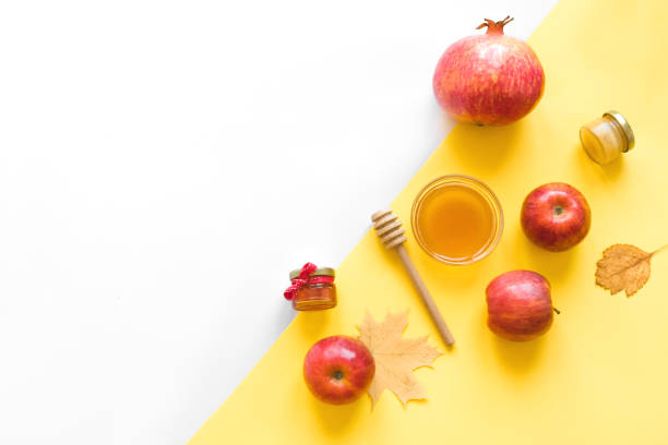 Rosh hashanah Rosh hashanah (jewish New Year holiday) concept. Traditional symbols, top view, copy space. rosh hashanah stock pictures, royalty-free photos & images