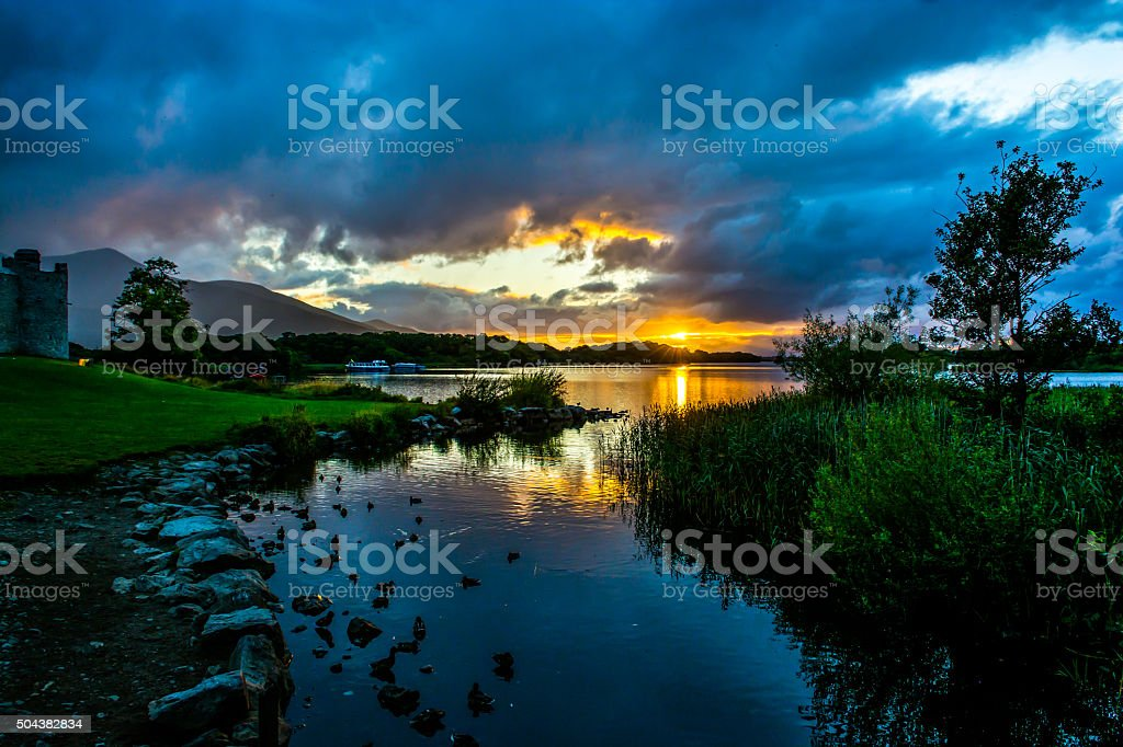 Ross Castle at Lough Leane in Ireland stock photo