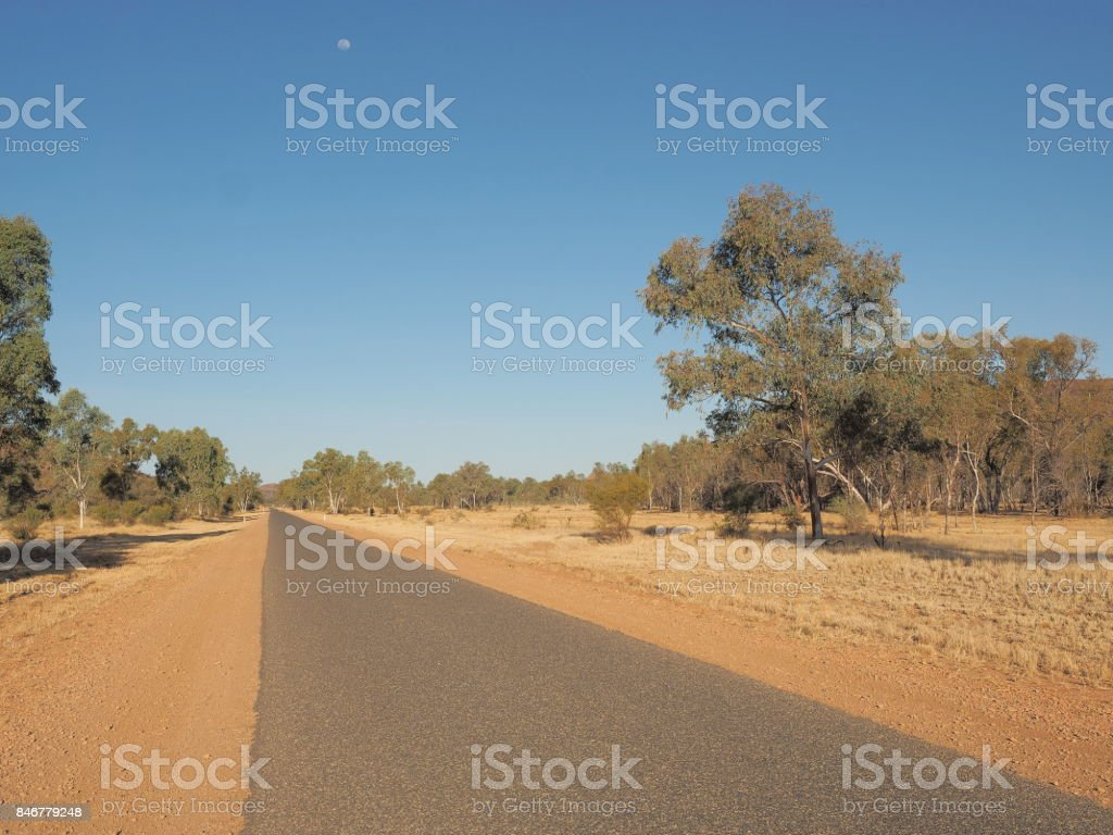 Ross highway along the east MacDonnell ranges near Alice Springs stock photo