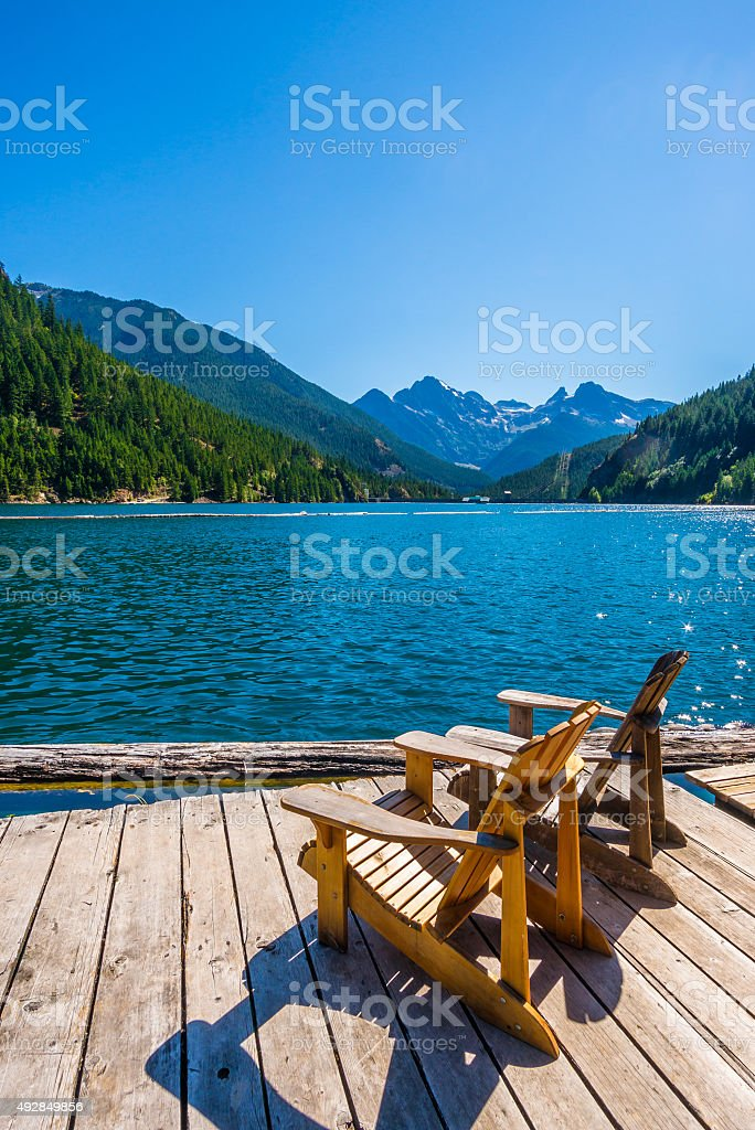 Ross Lake at North Cascades national park stock photo