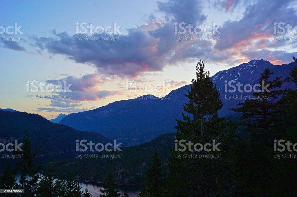 Ross Lake Dawn stock photo