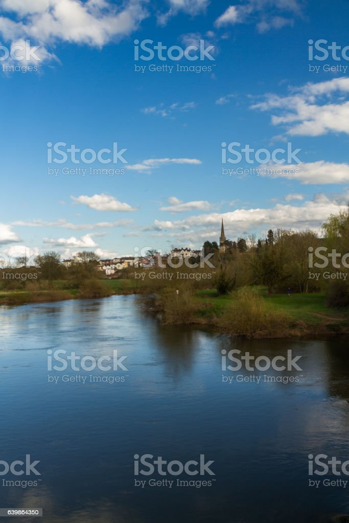 Ross on Wye, river in foreground. Late afternoon. stock photo