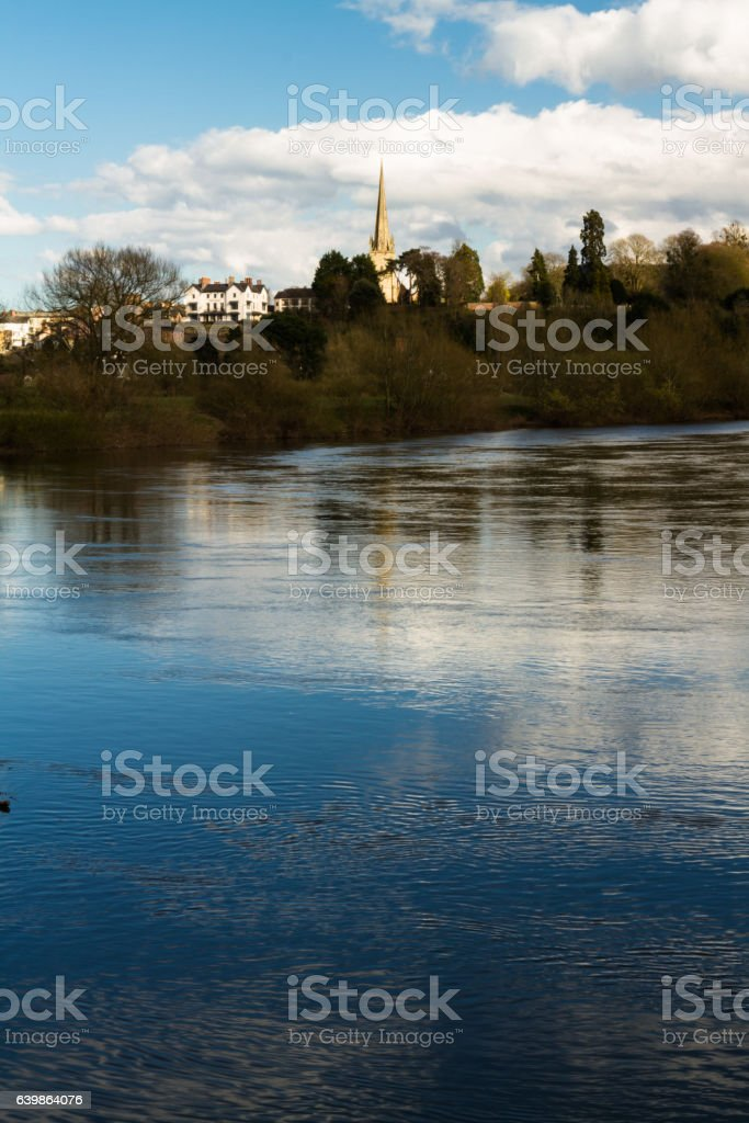 Ross on Wye, river in foreground stock photo