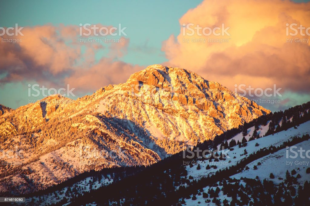Ross Peak Sunset stock photo