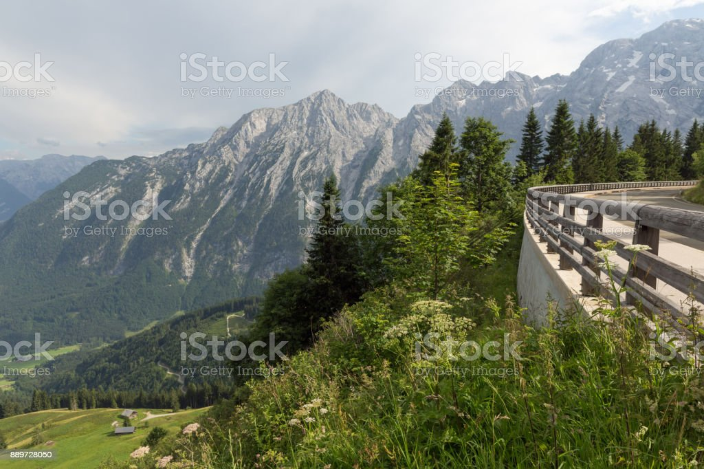 Rossfeld panorama road over the mountains between Germany and Austria stock photo