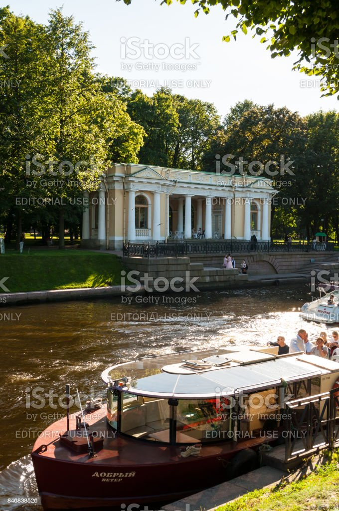 Rossi Pavilion in the Michael Garden and the Moika river stock photo