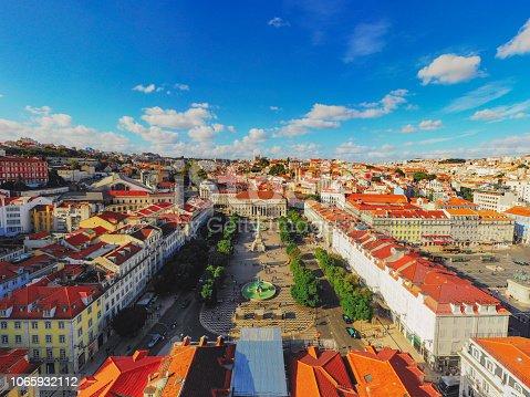 Aerial Rossio Square cityscape Lisbon Portugal
