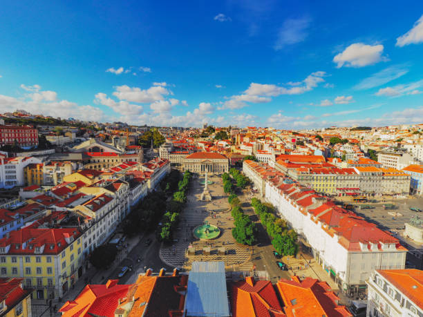 Rossio Square cityscape Lisbon Portugal Aerial stock photo