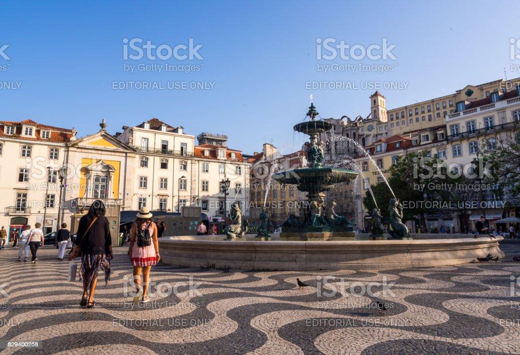 Rossio Square (Pedro IV Square) in dwontown of Lisbon. stock photo