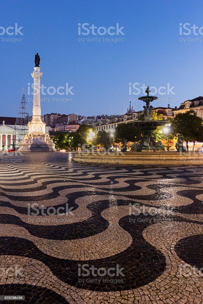 Rossio Square in Lisbon in Portugal stock photo