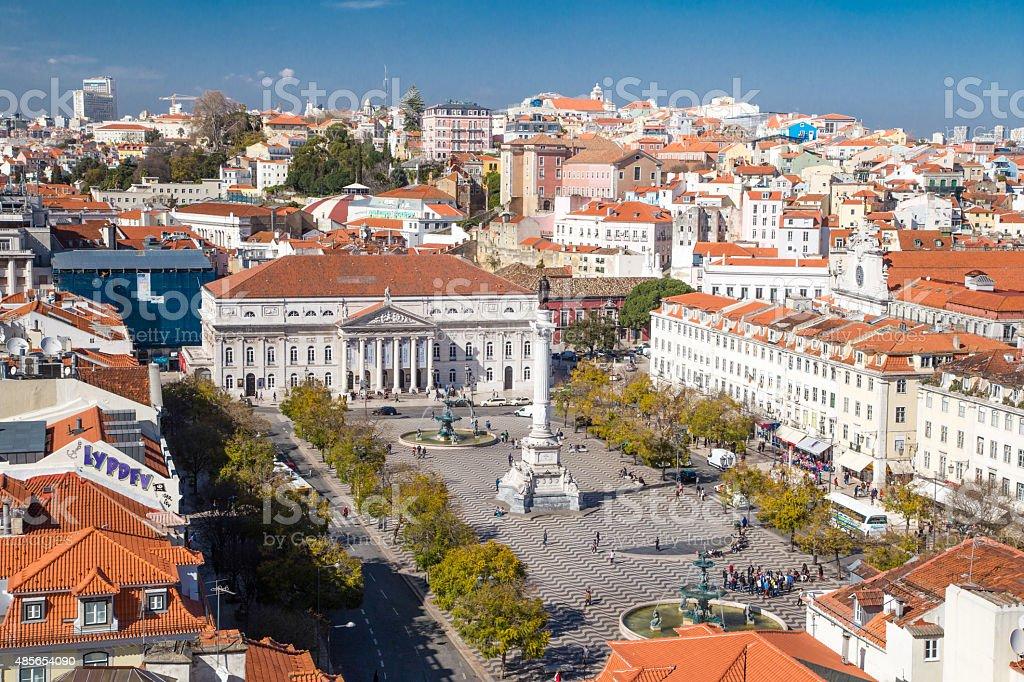 Rossio square in Lisbon stock photo