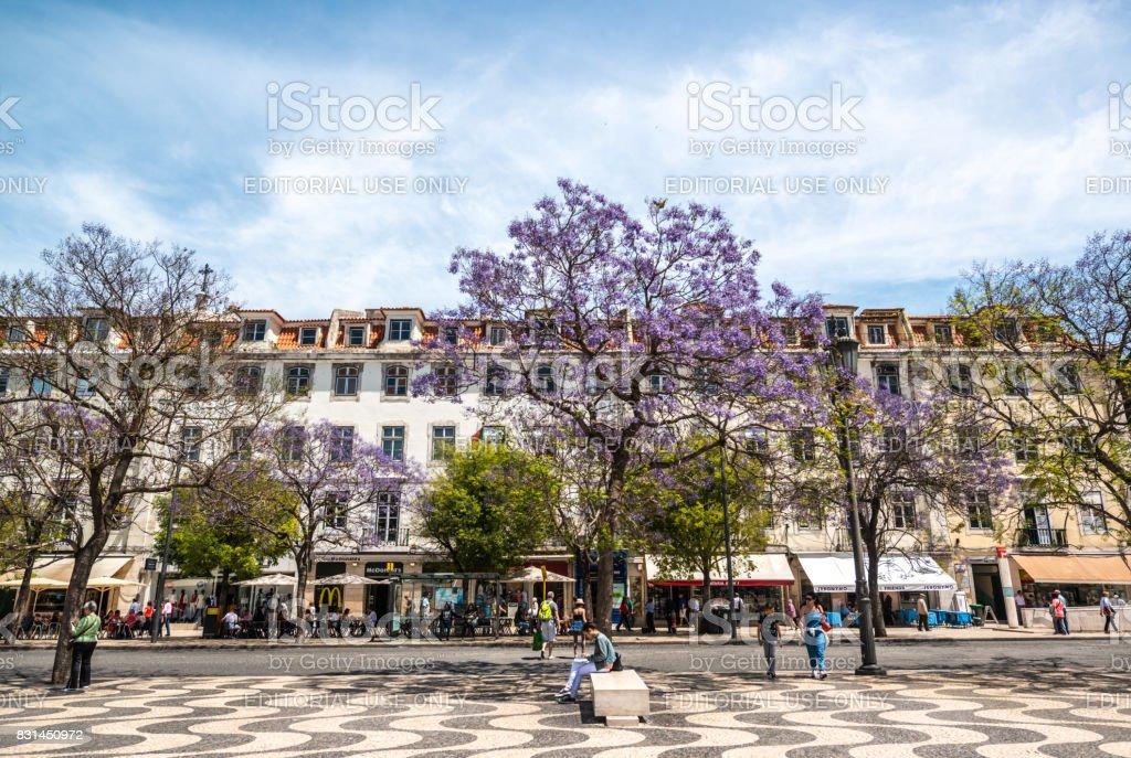 Rossio Square in Lisbon, Portugal stock photo