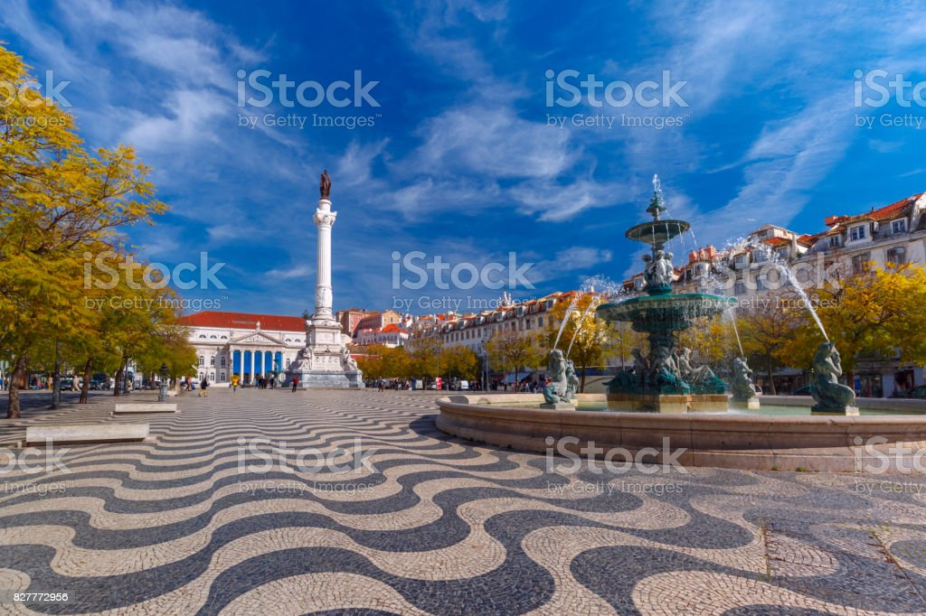 Rossio square with wavy pattern, Lisbon, Portugal stock photo
