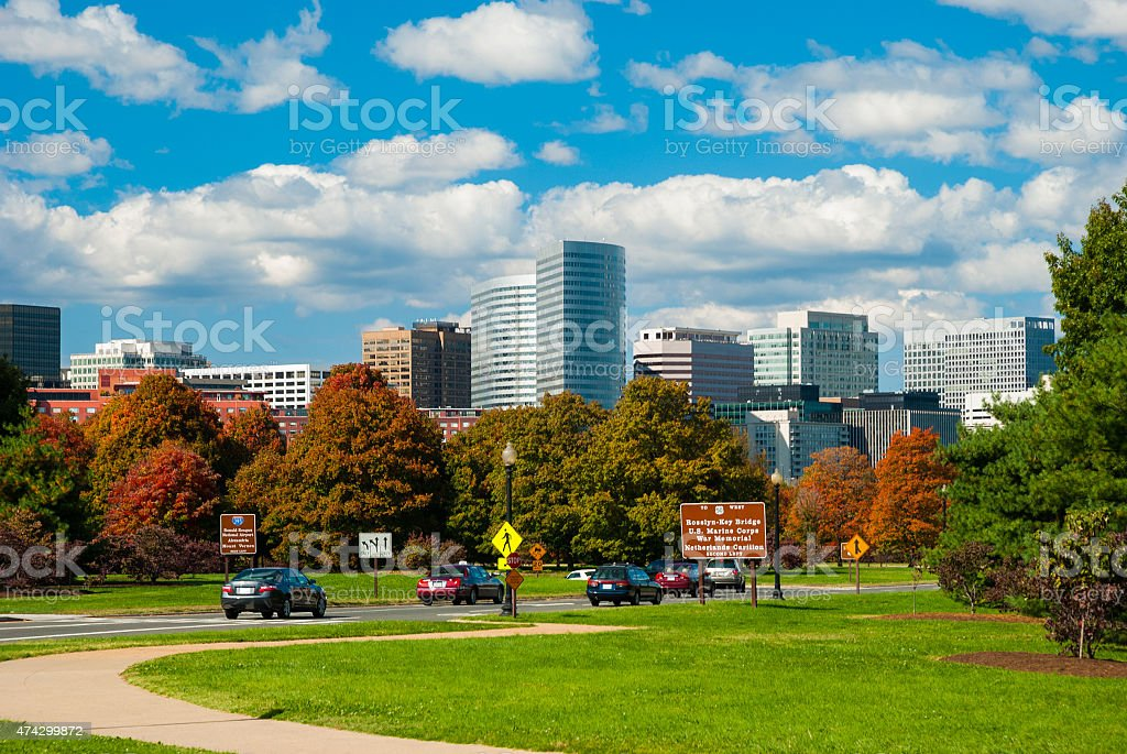 Rosslyin skyline from a parkway stock photo