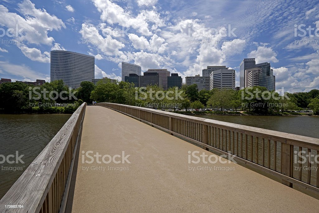 Rosslyn neighborhood of Arlington, Virginia from Roosevelt Island royalty-free stock photo