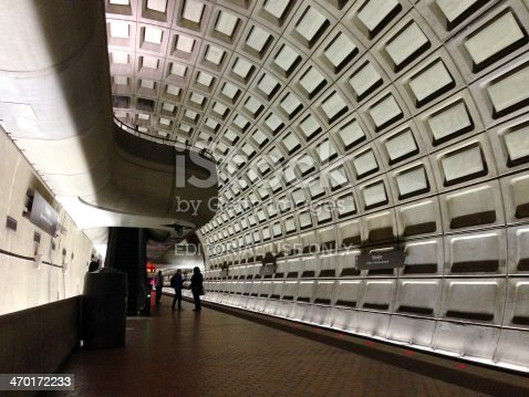 Washington, USA - January 16, 2014: View of the two floor design with commuters waiting at Rosslyn Station. Mobilestock image.
