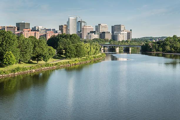 Rosslyn Virginia Viewed from Arlington Memorial Bridge stock photo