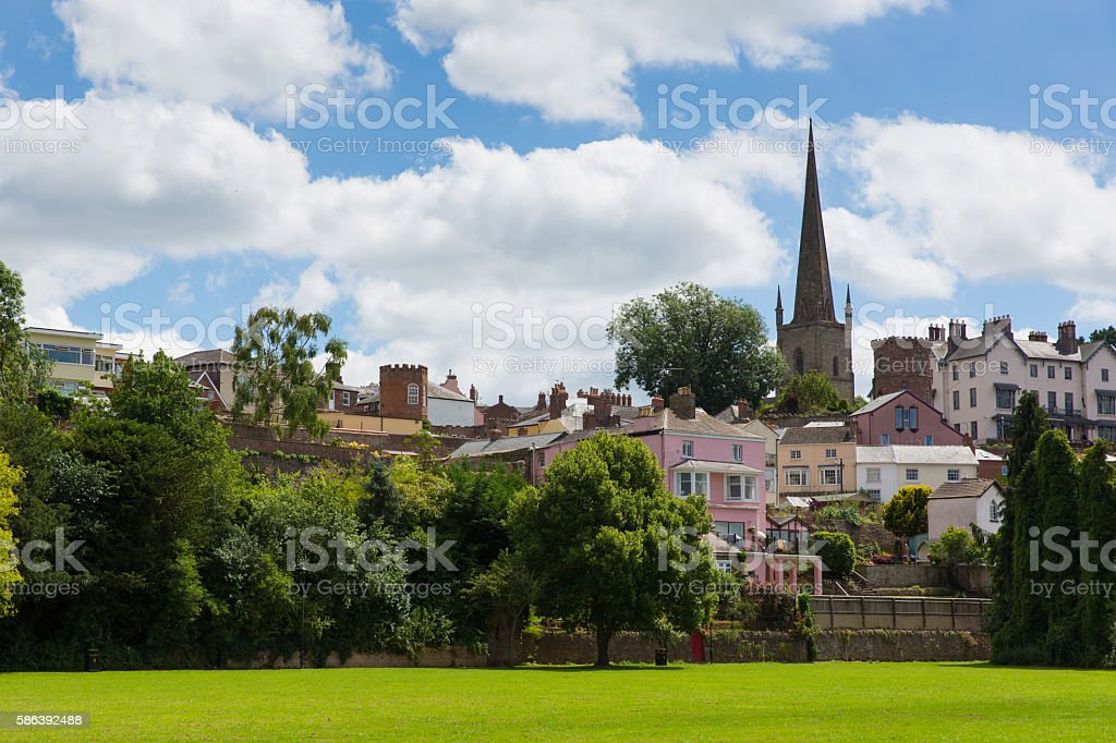 Ross-on-Wye town Wye Valley uk park view towards church stock photo