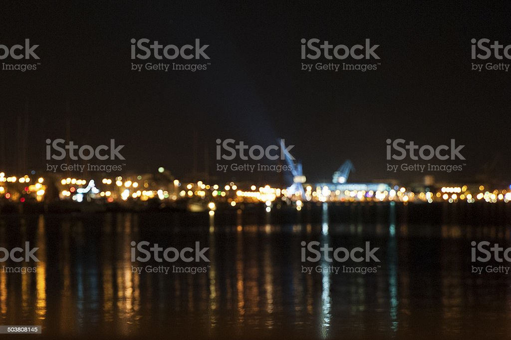 Rostock City Harbour at Night IV stock photo