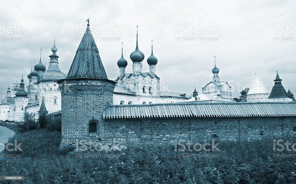 Rostov Kremlin Towers view monochrome royalty-free stock photo