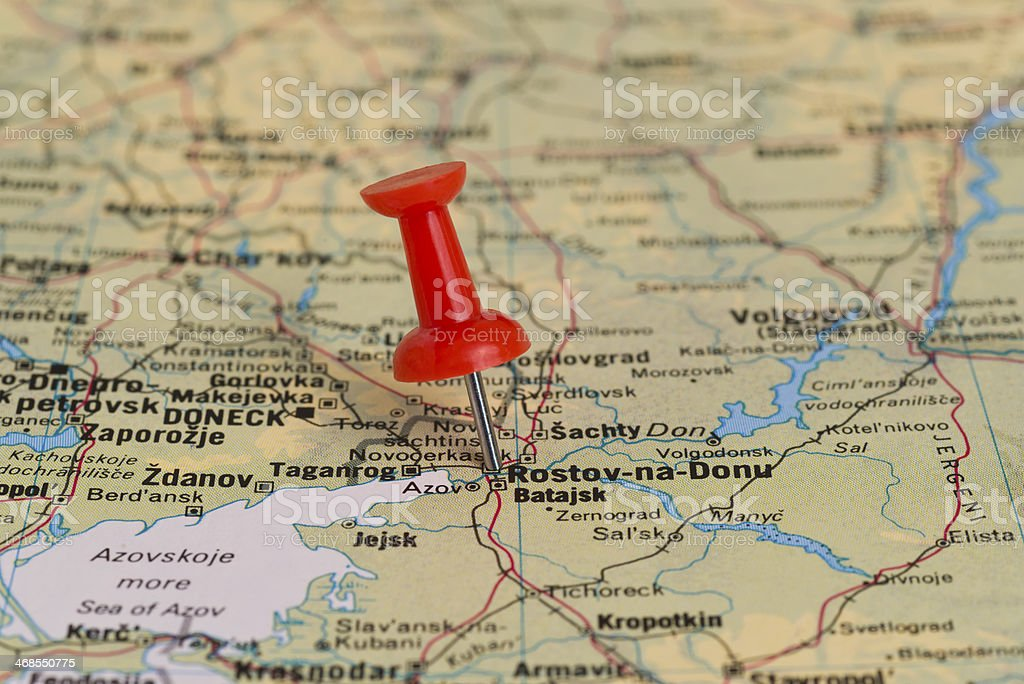 Rostovondon Marked With Red Pushpin On Map Stock Photo & More ...