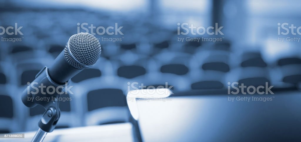 Rostrum in conference hall stock photo