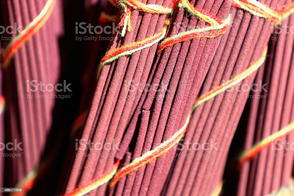 Rosy colored incense sticks. Shigatse-Tibet. 1672 stock photo