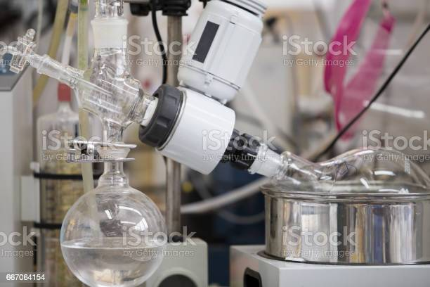 Close up of Rotary evaporator in chemical laboratory