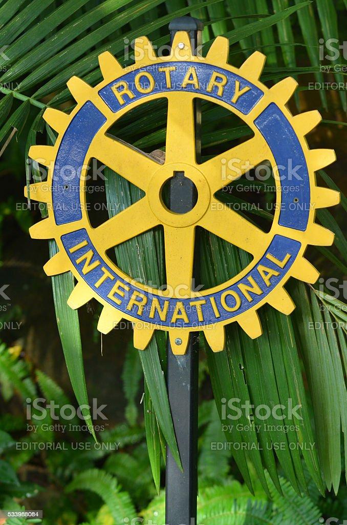 Rotary international sign stock photo