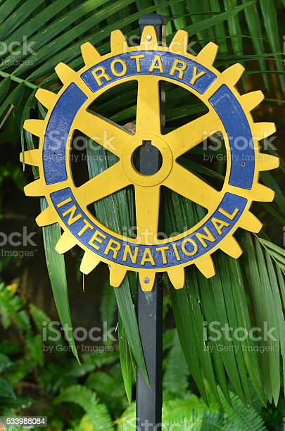 Kuranda, Australia - April 16, 2016: Rotary international sign.There are 34,282 Rotary member clubs worldwide. 1.2 million individuals called Rotarians have joined these clubs.