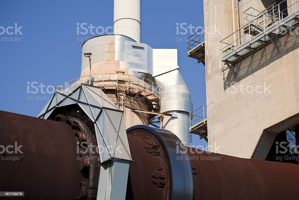 Rotary Kiln in Cement Factory stock photo