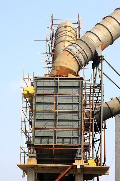 rotary kiln abfall heat power-generation-ausstattung - co2 adapter stock-fotos und bilder