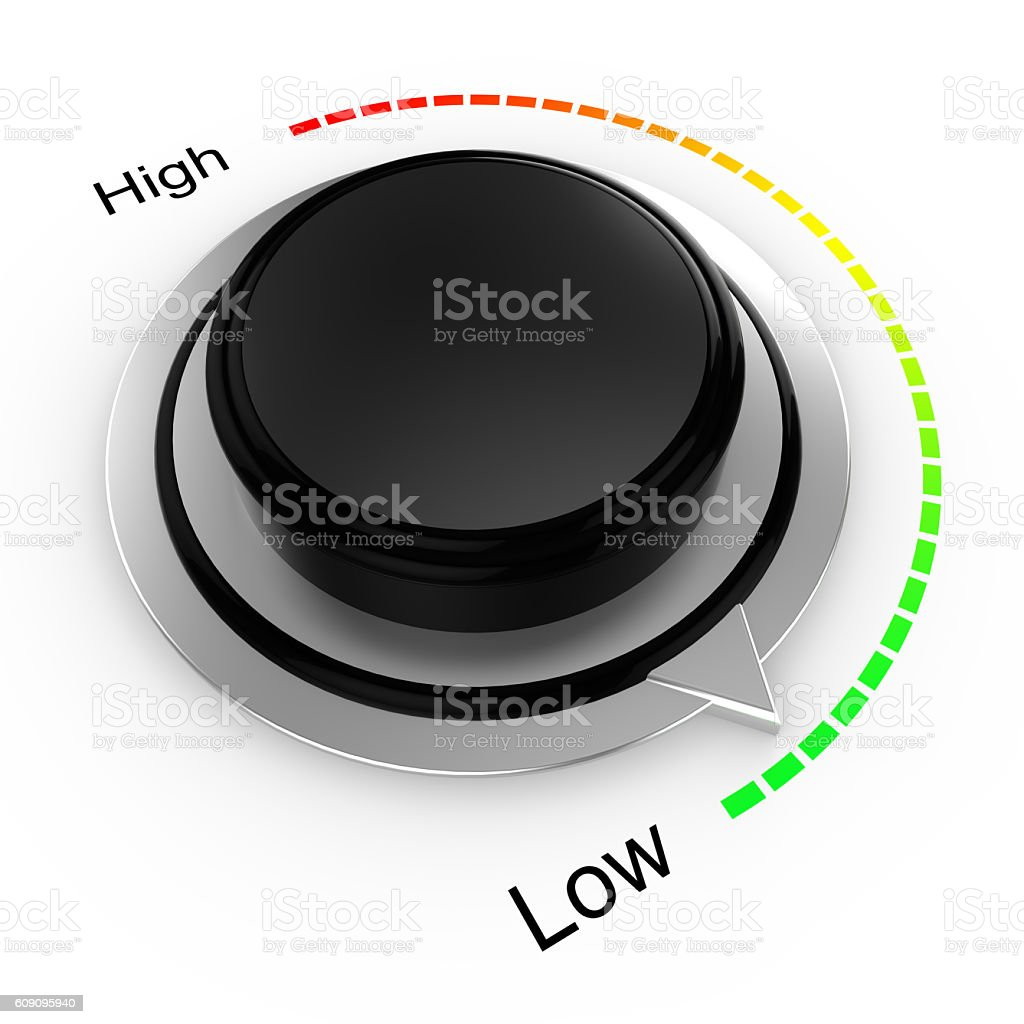 Rotary knob from high to low stock photo