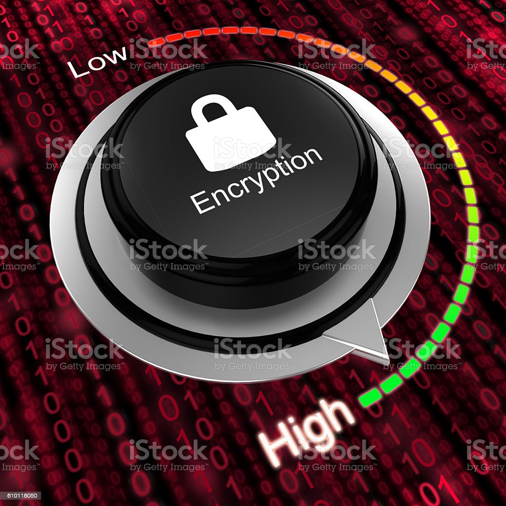 Rotary knob increase encryption cybersecurity concept stock photo