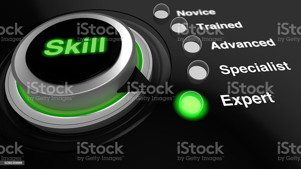 Rotary knob with the word skill  turned to expert stock photo